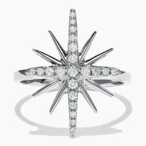 Jewelry - Cubic Zirconia Silver Starburst Ring